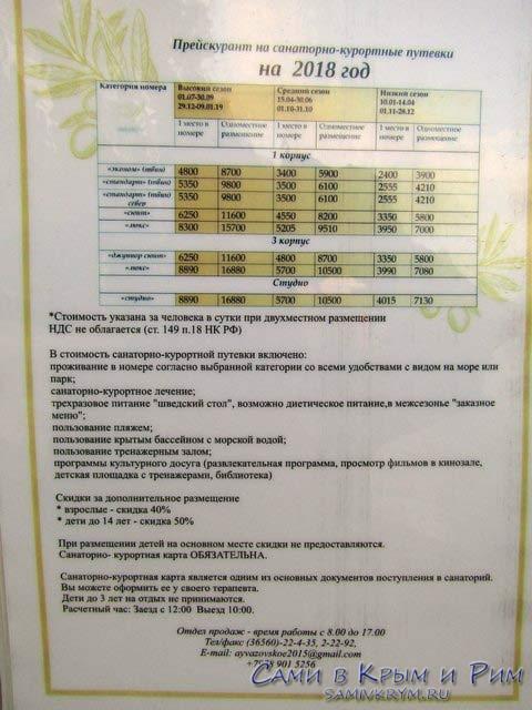 Цены за проживание в санатории