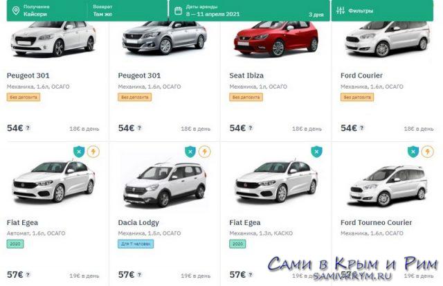 Цена аренды авто на Myrentacar