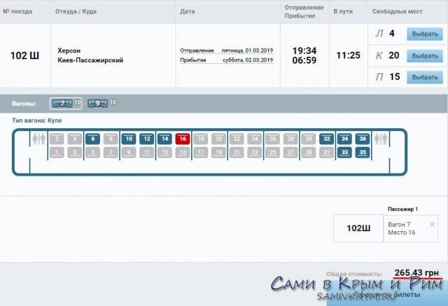 Стоимость билета на поезд Херсон-Киев