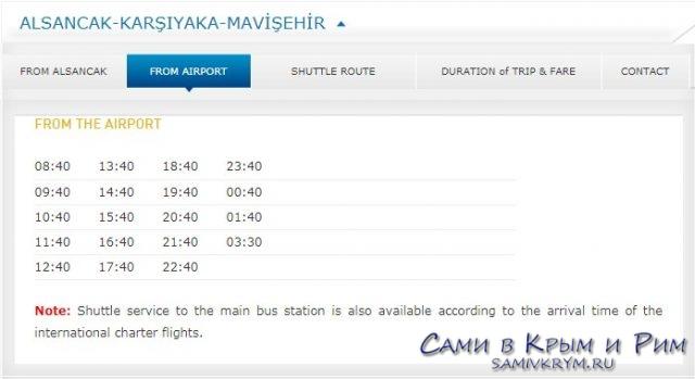 Аэропорт - Асланджак центр Измира Хавашбас