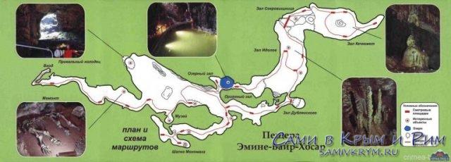 План залов пещеры Эмине баир Хосар
