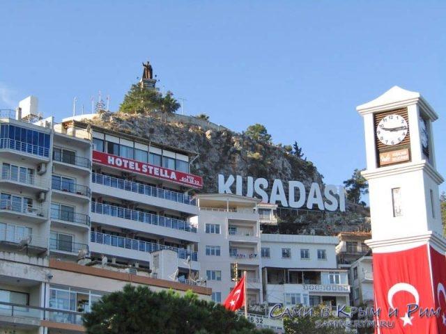 Памятгник Ататюрку и наш отель на горе