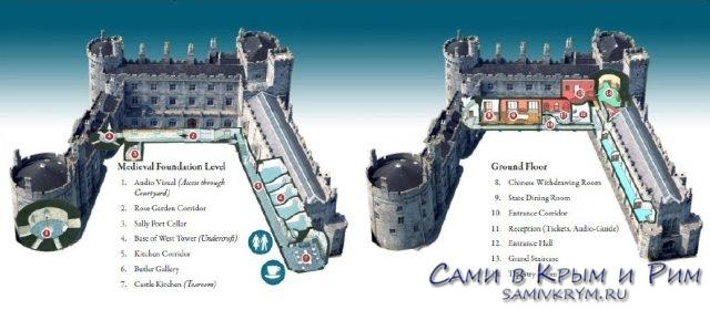 Схема внутренних залов замка Килкенни