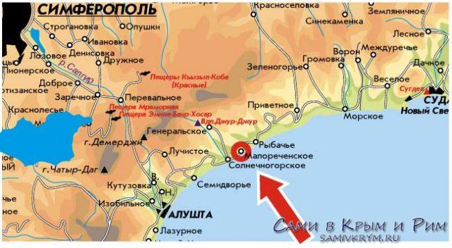 Солнечнегорское карта