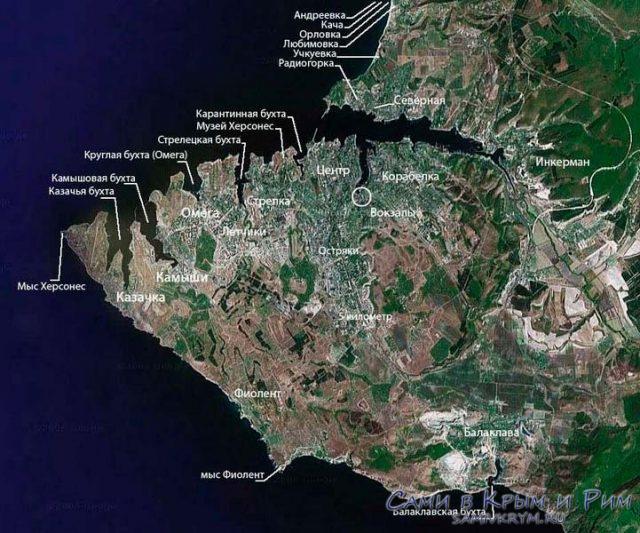 Карта пляжей и районов Севастополя