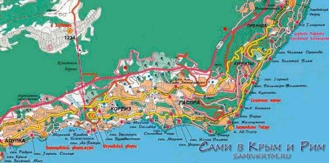 Карта прибрежной зоны Мисхора