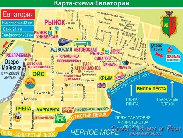 Карта Евпатории и пляжей