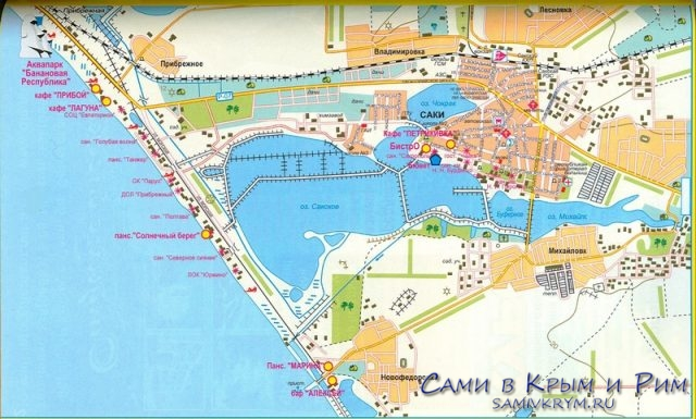 Карта пляжей Саки