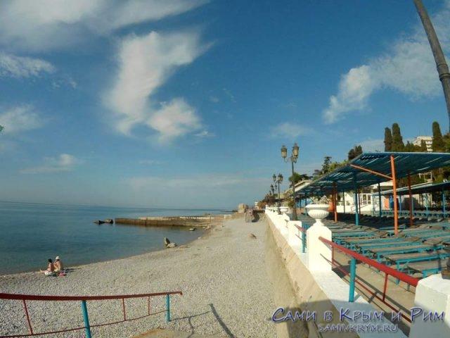Пляж санатория Мисхор утром