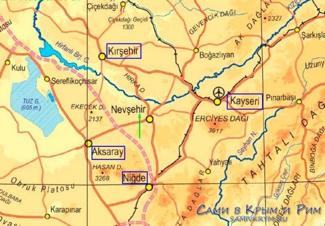 Каппадокия на карте Турции