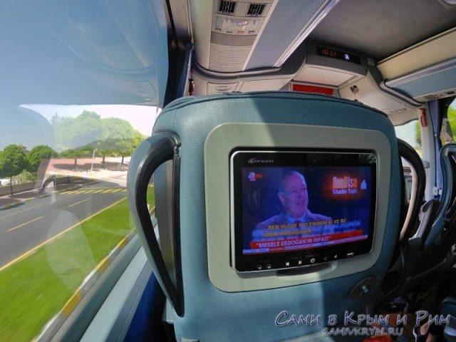Персональные мониторы в автобусе