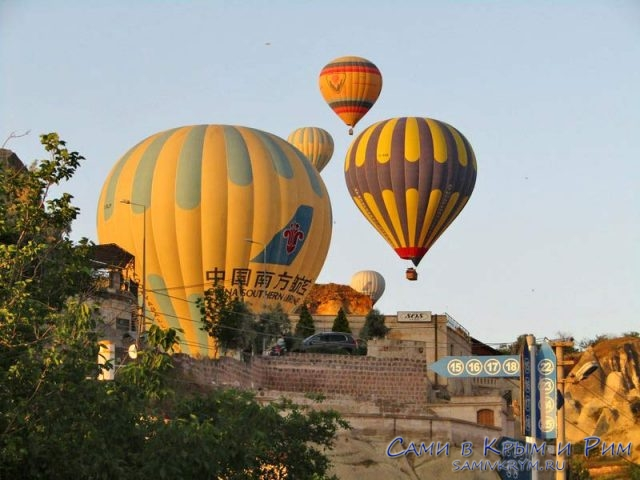 Рассвет в Гереме на фоне воздушных шаров