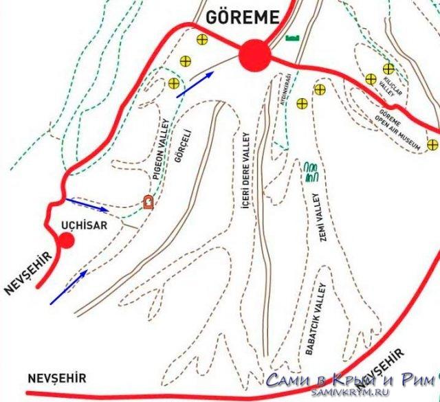 Карта схема маршрута по Голубиной долине