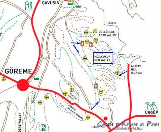 Карта-схема маршрута по Красной долине