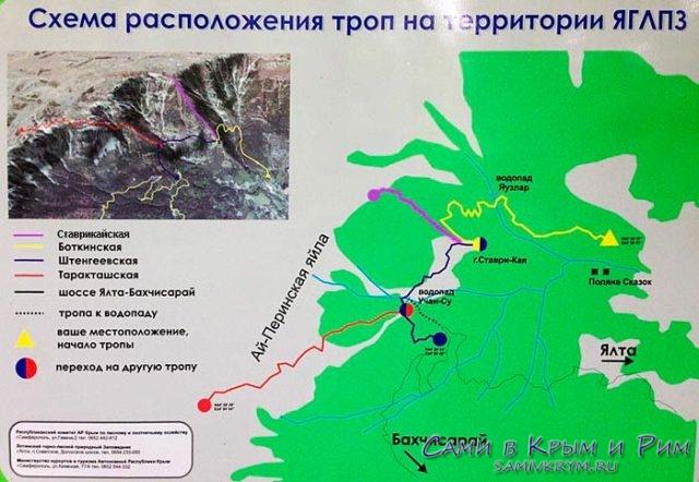 Схема троп на территории Ялтинского заповедника