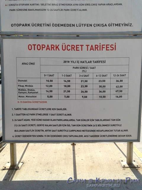 Стоимость парковки в аэропорту Анталии