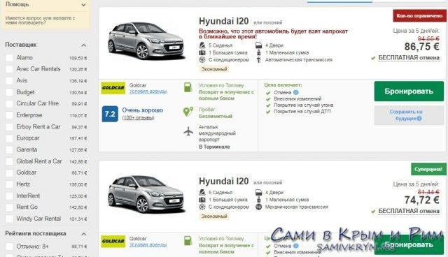 Цены Анталии от Rentalcars за 6 недели