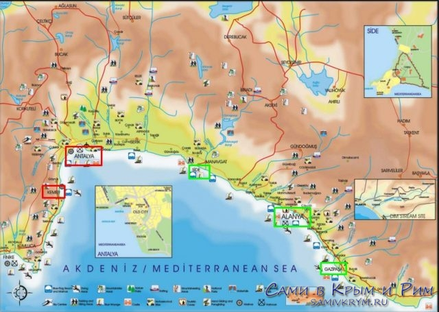 Адания на карте Турции