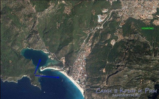 Карта-схема пляжей Олюдениза
