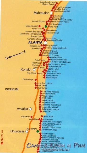 Отели вдоль пляжной линии Алании