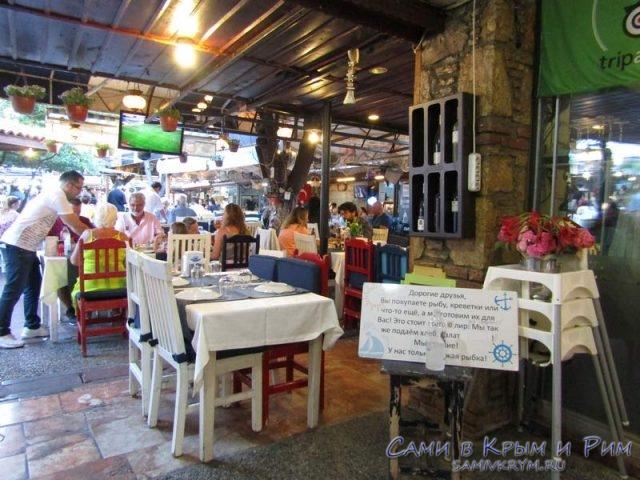 Рыбный рынок и рестораны в Фетхие