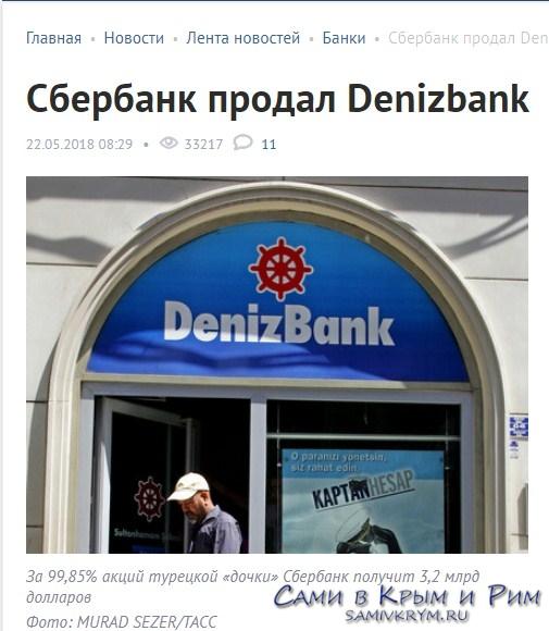 Сбербанк продал Денизбанк