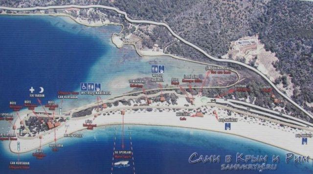 Схема пляжа Олюдениз