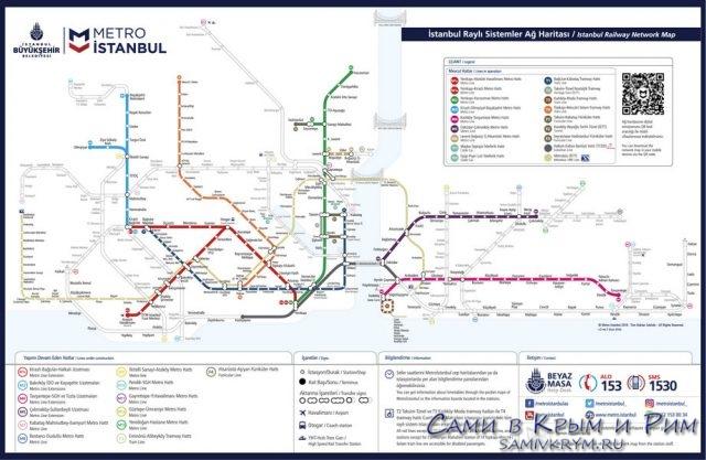 Схема метро Стамбула 2019