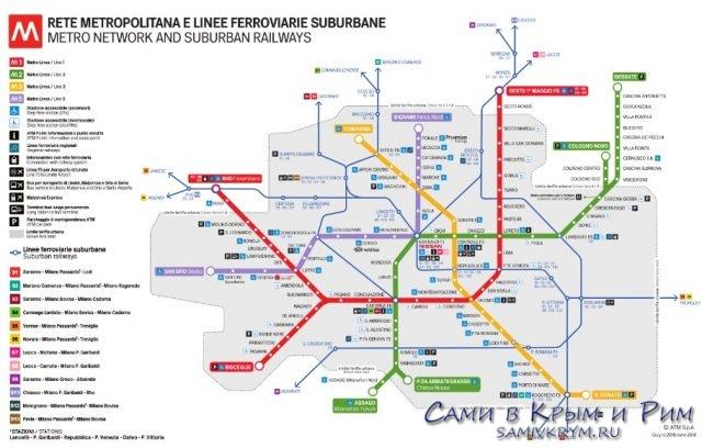 Карта метрополитена Милана