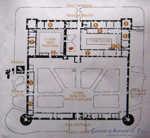 Карта-схема всех музеев в замке
