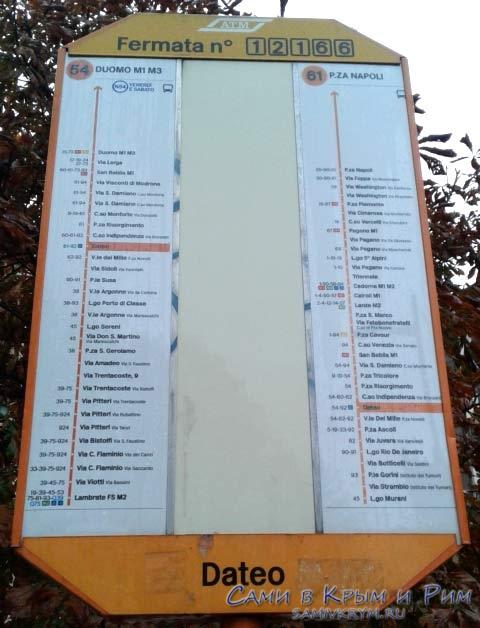 Расписание автобусов по остановке в Милане