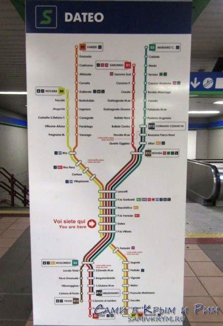 Схема метро в подземке Милана