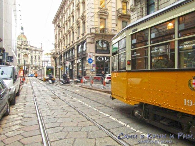 Старые трамвайчики на линиях Милана