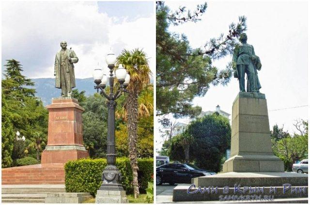 Памятники-Ленину-и-Горькому