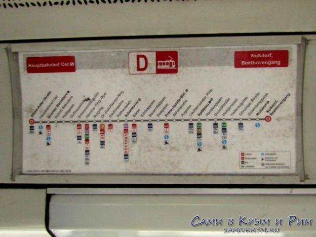 Расписание остановок внутри трамвая
