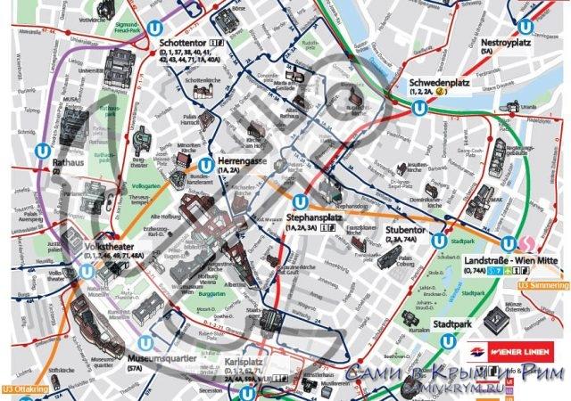 Расположение достопримечательностей Вены в центре города