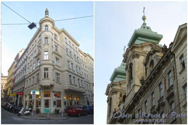 Старинное здание нашего отеля и церковь напротив