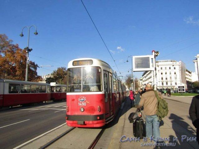 Старые исторические трамваи Вены