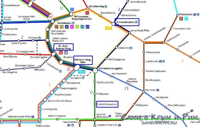 Трамваи в центре Вены