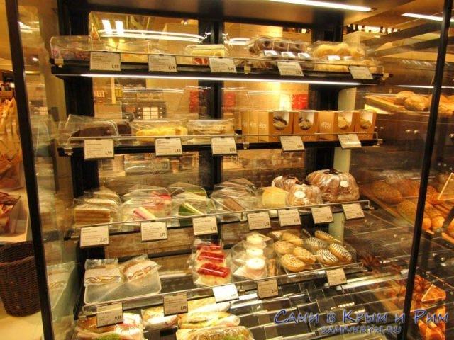 Выбор бутербродов в супермаркете в Вене