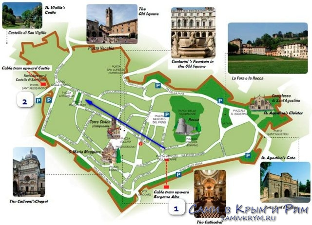Карта старого города с Фуникулерами