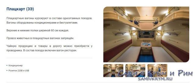 Плацкартные вагоны поезда Таврия
