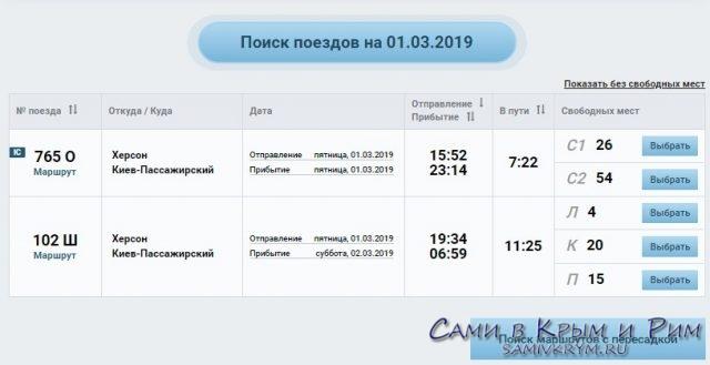 Поезд Херсон-Киев