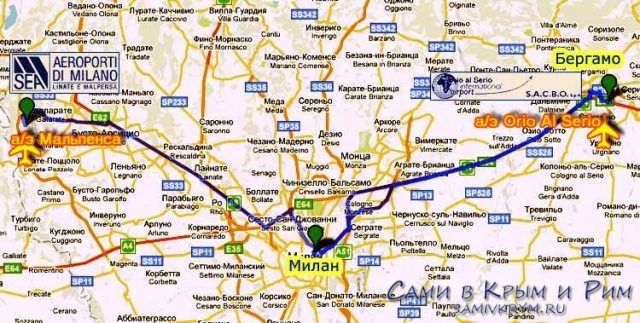 Расположение аэропорта Бергамо на карте