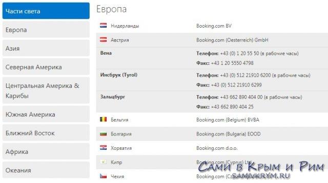 Телефоны служб Букинга в разных странах