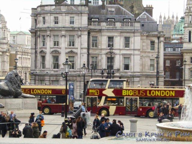 Туристические автобусы в центре Лондона