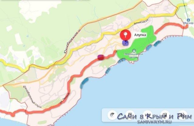 Карта Алупки