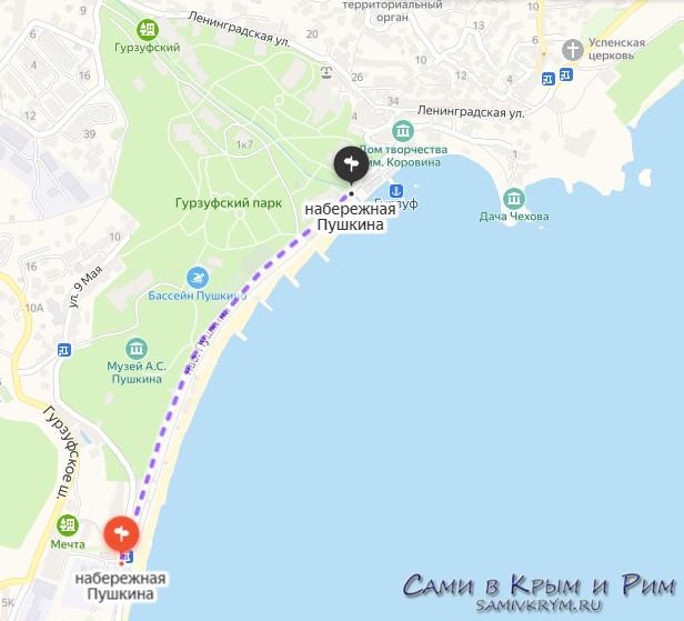 Набережная Гурзуфа на карте