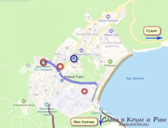 Новый Свет на карте Крым
