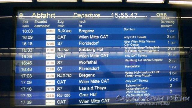 Расписание поездов из аэропорта Вены